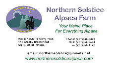 Northern Solstice Alpaca Business Card